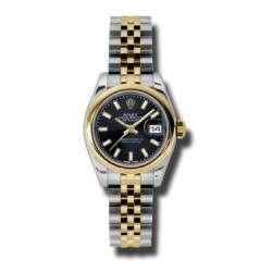 Rolex Lady-Datejust Black/index Jubilee 179163