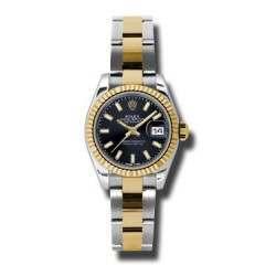 Rolex Lady-Datejust Black/index Oyster 179173