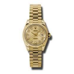 Rolex Lady-Datejust Champagne Jub/Diamond President 179178