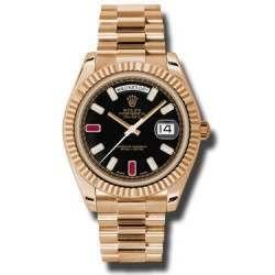 Rolex Day-Date II Black/8 Diamond And 2 Rubies President 218235