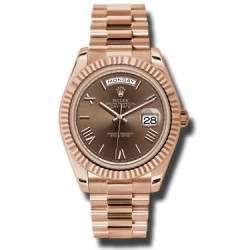 Rolex Day-Date 40 Chocolate/ Roman President Rose Gold 228235