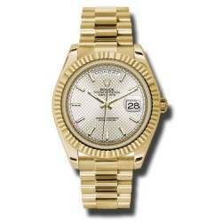 Rolex Day Date Silver/ Index Yellow Gold 228238
