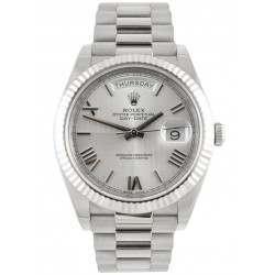 Rolex Day Date Silver/ Roman White Gold 228239