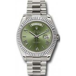 Rolex Day-Date 40 Olive Green/Roman President White Gold 228239
