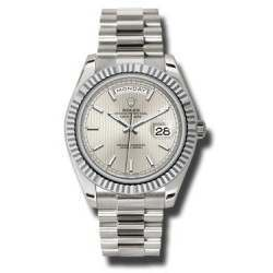 Rolex Day Date Silver/ Index White Gold 228239