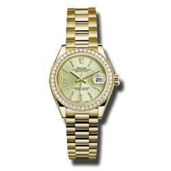 Rolex Lady Datejust 28 Yellow Gold Linden/ diamond President 279138RBR