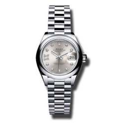 Rolex Lady Datejust 28 Platinum Silver/ Diamond 279166