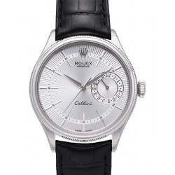 Rolex Cellini Date Silver Guilloche/Hour Markers Leather 50519