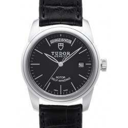 Tudor Glamour Date-Day 39mm Black/Leather 56000