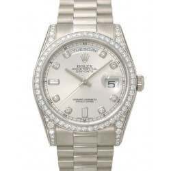 Rolex Day-Date Silver/Diamond President 118389