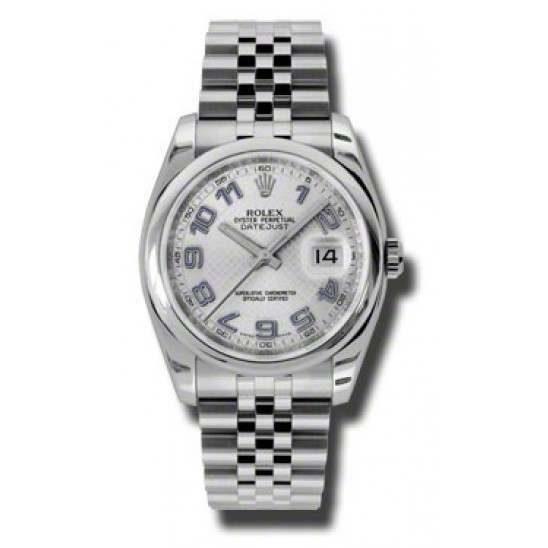 Rolex Datejust Silver Decorated Arab/Blue Jubilee 116200