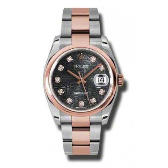 Rolex Datejust Black Jub/Diamond Oyster 116201