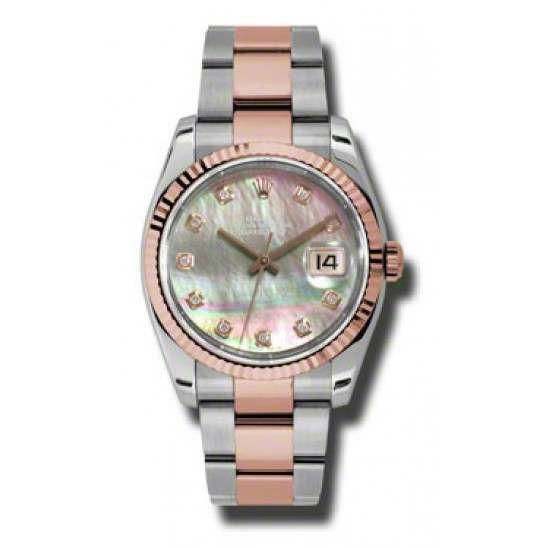 Rolex Datejust Black mop/Diamond Oyster 116231
