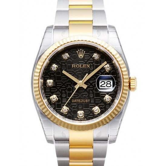 Rolex Datejust Black Jub/Diamond Oyster 116233