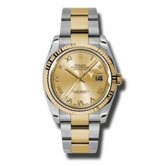 Rolex Datejust Champagne Roman Oyster 116233