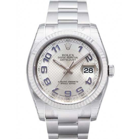 Rolex Datejust Silver Decorated Arab/Blue Oyster 116234