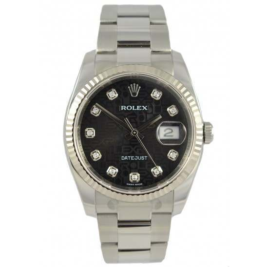 Rolex Datejust Black Jub/Diamond Oyster 116234