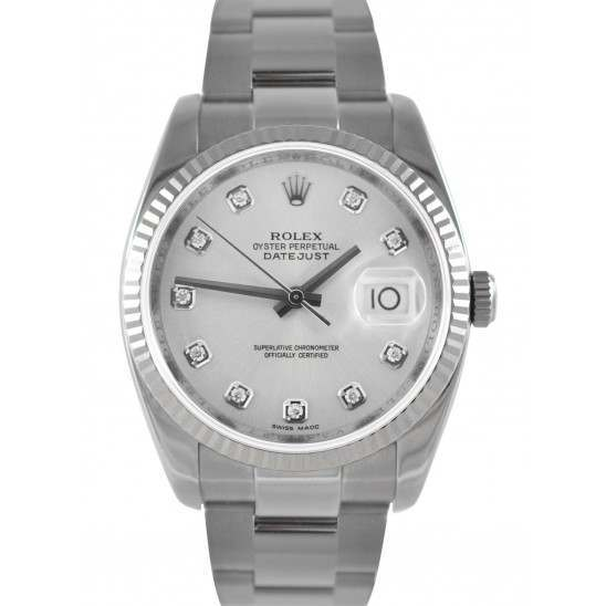 Rolex Datejust Silver/Diamond Dial Oyster 116234