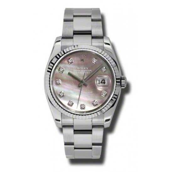 Rolex Datejust Black mop/Diamond Oyster 116234