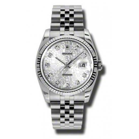 Rolex Datejust Silver Jub/Diamond Jubilee 116234