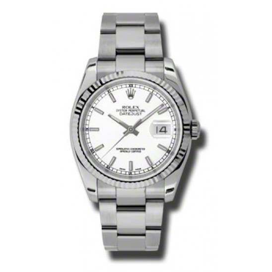 Rolex Datejust White/index Oyster 116234
