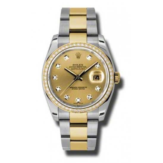 Rolex Datejust Champagne/Diamond Oyster 116243