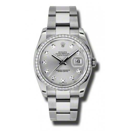 Rolex Datejust Silver/Diamond Oyster 116244