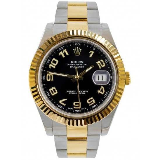 Rolex Datejust II Black Arab Dial Oyster Bracelet 116333