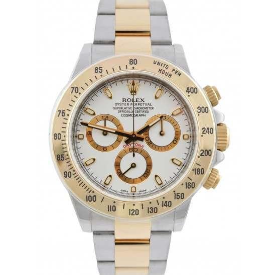 Rolex Cosmograph Daytona Steel & Gold White Dial 116523