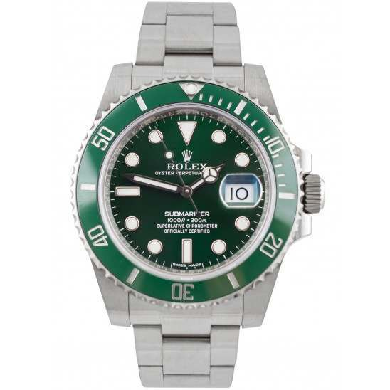 As New Rolex Submariner Date Stainless Steel Green Dial 40mm 116610LV