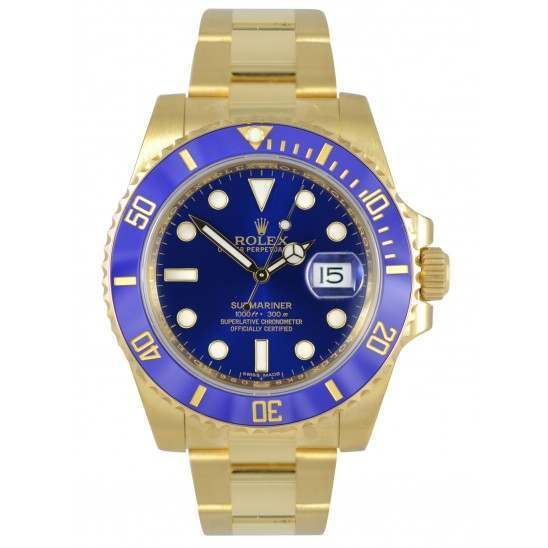 Rolex Submariner 18ct Yellow Gold Date Blue Dial and Bezel 116618LB