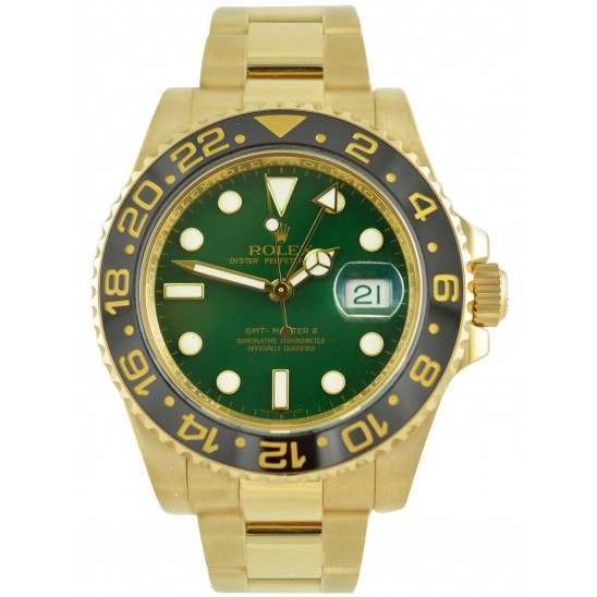 Rolex GMT-Master II 18ct Yellow Gold Green Glass 40mm 116718LN