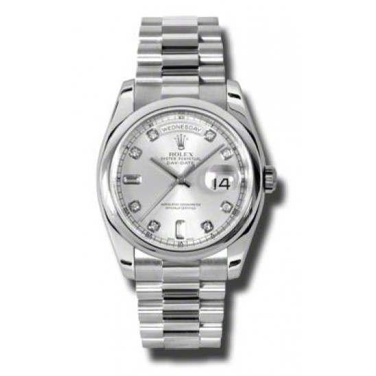 Rolex Day-Date Silver/Diamond President 118206
