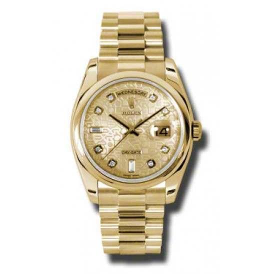 Rolex Day-Date Champagne Jub/Diamond President 118208