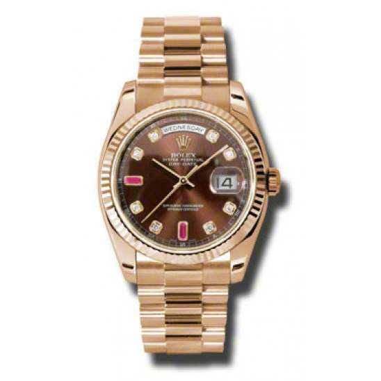 Rolex Day-Date Chocolate/8 Diamond & 2 Rubies President 118235