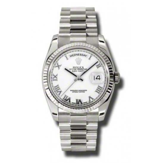 Rolex Day-Date White Roman President 118239