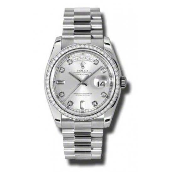 Rolex Day-Date Silver/Diamond President 118346