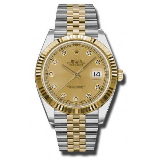 Rolex Datejust 41 Steel and Gold Champagne/Diamond Jubilee 126333