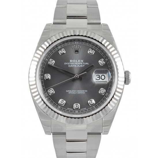 Rolex Datejust 41 Steel&White Gold Dark Rhodium/Diamond Oyster 126334