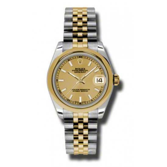 Rolex Lady Datejust 31mm Champagne/index Jubilee 178243