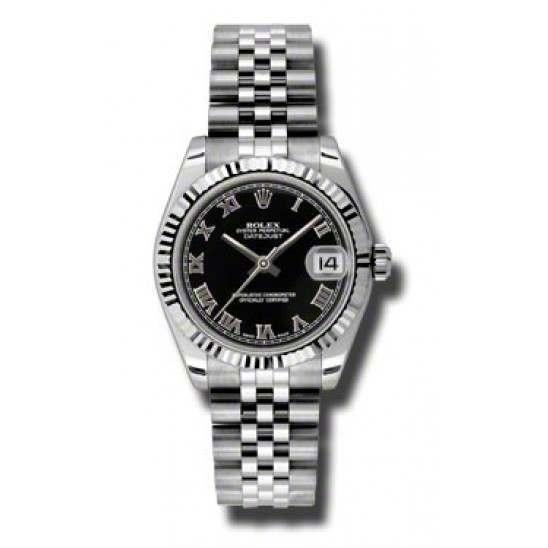 Rolex Lady Datejust 31mm Black Roman Jubilee 178274