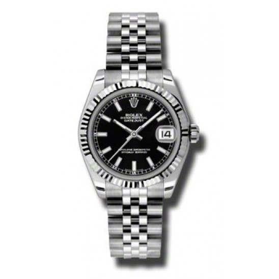 Rolex Lady Datejust 31mm Black/index Jubilee 178274