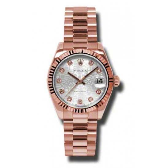 Rolex Datejust 31mm Pink Gold Silver Jub/Diamond President 178275