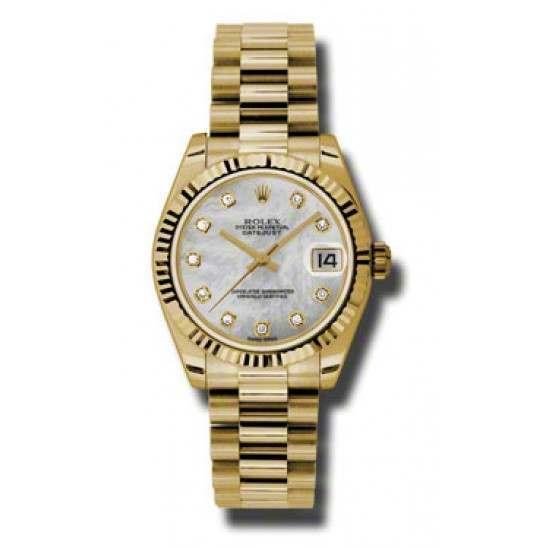Rolex Lady Datejust 31mm White mop/diamond President 178278
