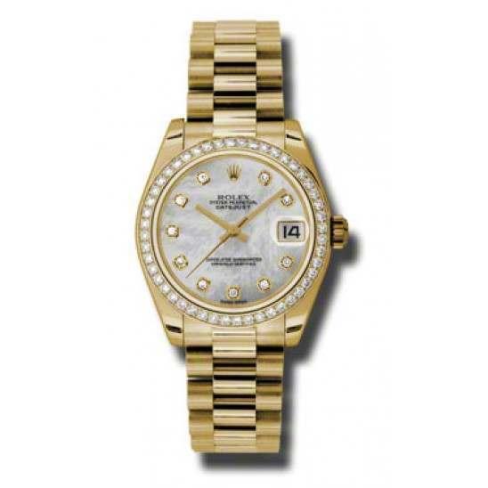 Rolex Lady Datejust 31mm White mop/diamond President 178288