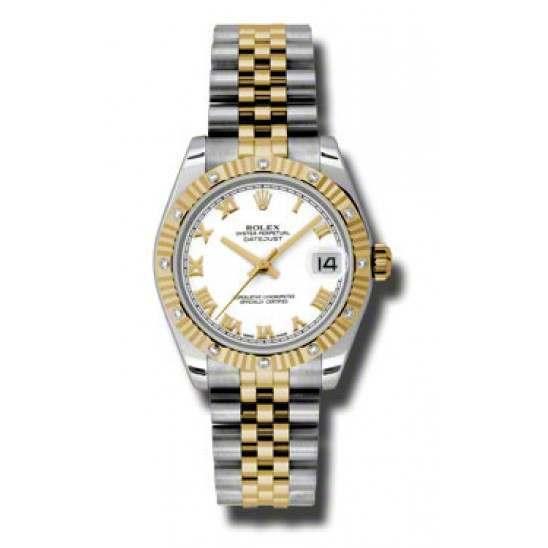 Rolex Datejust 31mm Steel & Yellow Gold White Roman Jubilee 178313