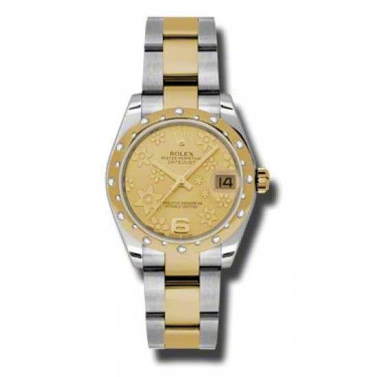 Rolex Lady Datejust 31mm Champagne/Arab 6 Oyster 178343