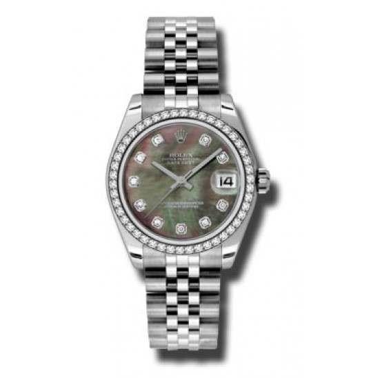 Rolex Lady Datejust 31mm Black mop/diamond Jubilee 178384