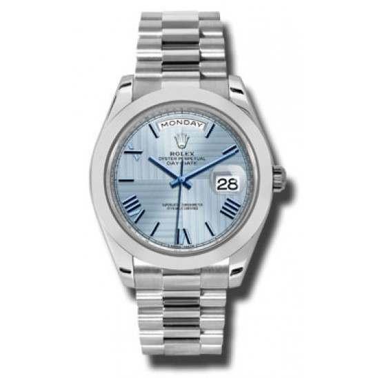 Rolex Day Date 40 Ice Blue/ Roman Platinum 228206
