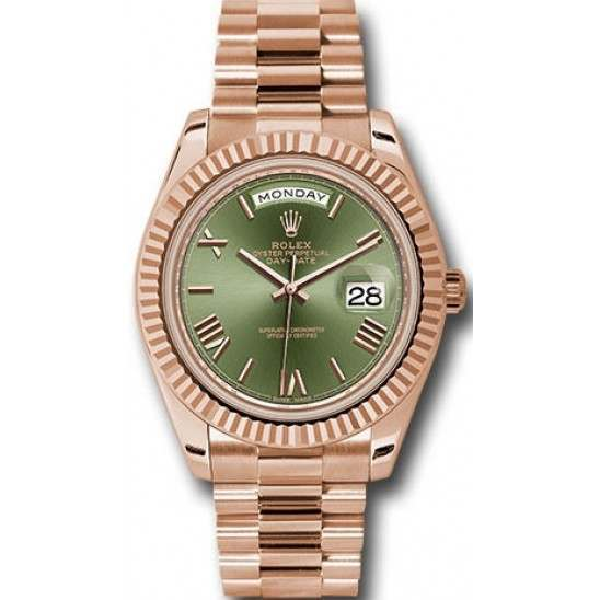 Rolex Day-Date 40 Olive green/Roman President Everose Gold 228235